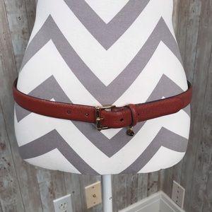 Lauren Ralph Lauren brown leather belt gold charm